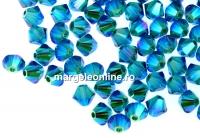 Swarovski, margele bicone, blue zircon AB2x, 4mm - x20