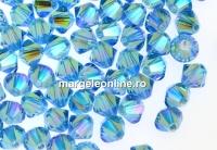 Swarovski, margele bicone, aquamarine AB2x, 4mm - x20