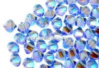 Swarovski, margele bicone, light sapphire AB2x, 4mm - x20