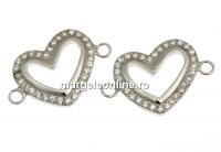 Link inima cu cristale, argint 925 placat cu rodiu, 16mm  - x1