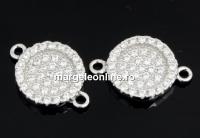 Link disc cu cristale, argint 925 placat cu rodiu, 15mm  - x1
