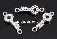 Link cheie cu cristale, argint 925 placat cu rodiu, 14mm  - x1