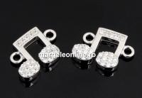 Link nota muzicala cu cristale, argint 925 placat cu rodiu, 12mm  - x1