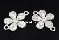 Link floare cu cristale, argint 925 placat cu rodiu, 14mm  - x1
