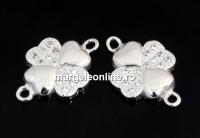 Link trifoi cu cristale, argint 925 placat cu rodiu, 14mm  - x1