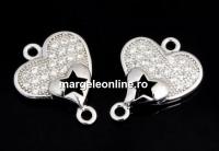 Link inima cu cristale, argint 925 placat cu rodiu, 14mm  - x1