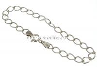 Bratara zale ovale, argint 925 placat cu rodiu, 19cm - x1