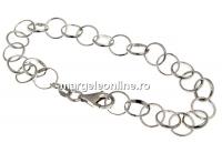 Bratara zale rotunde, argint 925 placat cu rodiu, 20cm - x1