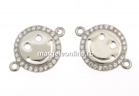 Link smiley cu cristale, argint 925 placat cu rodiu, 15mm  - x1