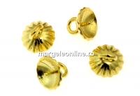 Baza pandantiv pt. perle, ag925 pl. cu aur, cupa cu pin, 7x6mm - x1