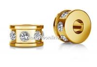 Accesoriu rondela cu cristale, argint 925 placat cu aur, 5x3mm - x1