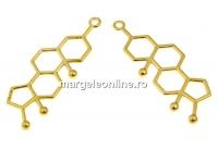 Pandantiv formula testosteronului, ag 925 placat cu aur, 38mm  - x1