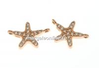 Link steluta cu cristale, argint 925 placat aur roz, 12.5mm - x1