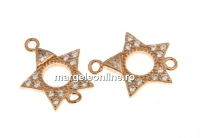 Link stea cu cristale, argint 925 placat cu aur roz, 13mm  - x1