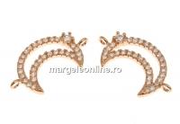Link luna cu cristale, argint 925 placat cu aur roz, 18mm  - x1