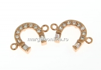 Link potcoava cu cristale, argint 925 placat cu aur roz, 13mm  - x1