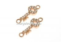 Link cheie cu cristale, argint 925 placat cu aur roz, 14mm  - x1