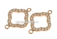 Link trifoi cu cristale, argint 925 placat cu aur roz, 16mm  - x1