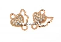 Link inima cu cristale, argint 925 placat cu aur roz, 10mm  - x1