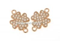 Link trifoi cu cristale, argint 925 placat cu aur roz, 14mm  - x1