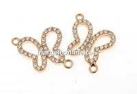 Link fluture cu cristale, argint 925 placat cu aur roz, 14mm - x1