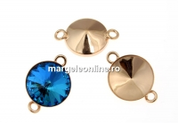 Baza link argint 925 placat cu aur roz, rivoli 12mm - x1