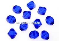 Swarovski, margele bicone xilion, majestic blue, 4mm - x20