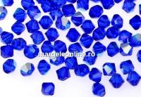 Swarovski, margele bicone xilion, majestic blue AB, 4mm - x20