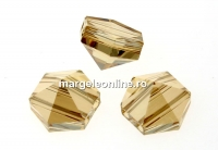 Swarovski, margele, tinta hexagonala, golden shadow, 7.5mm - x2