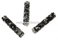 Swarovski, margele rocks, comet argent jet, 30x6mm - x1