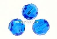 Swarovski, margele, rotund fatetat, capri blue, 7mm - x2