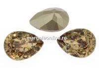 Swarovski, fancy picatura, lt. colorado topaz gold patina, 10x7mm - x1