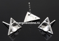Tortite cercei triunghi,  argint 925, rivoli de 6mm - x1per