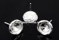 Tortite cercei spirala,  argint 925, rivoli de 6mm - x1per