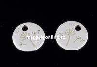 Charm banut papadie, argint 925, 7mm  - x2
