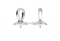 Baza pandantiv argint 925 placat cu rodiu, perla 5818 de 10mm - x1