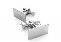 Baze butoni argint 925 cu platou dreptunghi de 19x10mm - x1 per