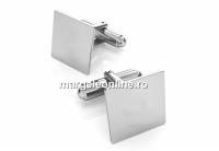 Baze butoni argint 925 cu platou patrat de 15x15mm - x1 per