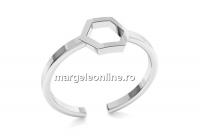 Baza inel hexagon, argint 925, reglabil   - x1