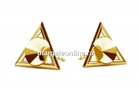 Tortite cercei triunghi,  argint 925 pl cu aur, rivoli de 6mm - x1per