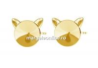 Tortite cercei pisicuta,  ag 925 placat cu aur, rivoli de 8mm - x1per