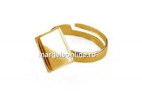 Baza inel ag925 pl cu aur, cabochon patrat 10mm, reglabil  - x1