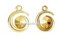 Baza pandantiv spirala ag 925 pl cu aur, rivoli Swarovski 6mm - x1