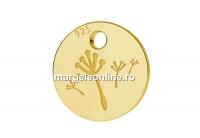 Charm banut papadie placat cu aur, argint 925, 7mm  - x2