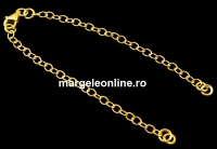 Bratara pt linkuri +zale prindere argint 925 placat cu aur, 15.5cm - x1
