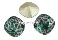 Swarovski, fancy square, emerald silver patina, 12mm - x1
