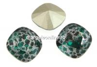 Swarovski, fancy square, emerald silver patina, 12mm - x1