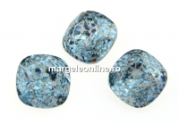 Swarovski, fancy square, aquamarine silver patina, 12mm - x1