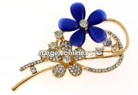 Brosa martisor, floare, albastru, 67mm - x1