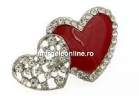 Brosa martisor, 2 inimi cu cristale, 50mm - x1